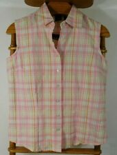 NWTs Basic Editions Size Small Pink Pastel Plaid Sleeveless Top ~ Excellent Cond