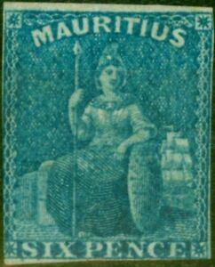 Mauritius 1859 2d Blue SG32 Fine & Fresh Unused 3 1/2 Close Margins
