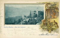 Ansichtskarte Baden-Baden Das alte Schloß 1901 Prägekarte  (Nr.757)