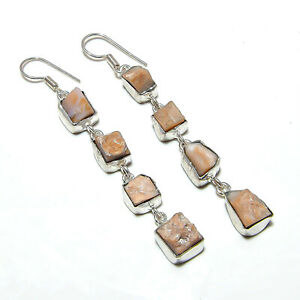 """Pink Opal Gemstone Handmade 925 Sterling Silver Jewelry Earring 2.75"""""""