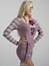 Jumper Long Sweater Striped Sleeve Tops Ladies Womens Knitted Dress V Neck 10 12