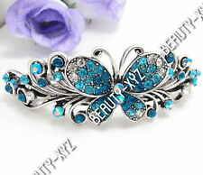 New 2014 Fashion Crystal Silver Tone Metal Butterfly hair claws clips Barrette