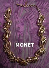 Monet Gold-tone Funky Spike Necklace vintage dog collar FREE SHIP