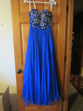 Sherri Hill royal blue empire strapless beaded chiffon dress prom formal size 2