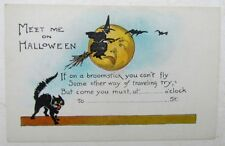 VINTAGE POSTCARD - HALLOWEEN PARTY INVITATION JACK-O-LANTERN BLACK CAT & WHITCH