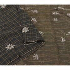 Sanskriti Vintage Black Sarees Pure Silk Hand Embroidered Woven Sari Fabric