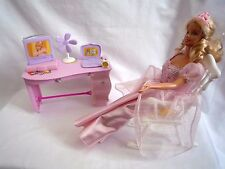 VINTAGE BARBIE DOLL PINK DRESS & ROCKING CHAIR & DRESSING TABLE UNIT & EXTRAS