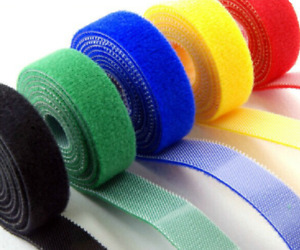 1CM*5M Double Sided Hook and Loop Tape Fastener Cable Ties Strap 5 Colors