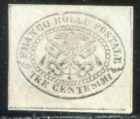 ASI Stato Pontificio 1867 n. 15 - 3 cent. grigio (l642)