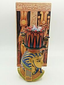 "Egyptian Collection Tutankhamun Pharaoh Candle Tea Light Holder 8"" High + Box"