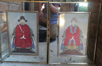 Antique Chinese Ancestors Watercolor Set Of 2 Paintings Mirror Surrounding frame