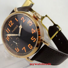 46mm parnis black dial Rose Gold case 17 jewels 6497 hand winding mens watch 405