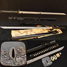 Handmade Japanese Samurai Sword NINJA Folded Steel Very Sharp Blade Can Cut Tree