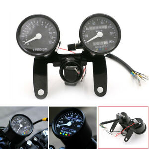 Universal Motorcycle LED Tachometer Km/h Speedometer Odometer Gauge with Bracket