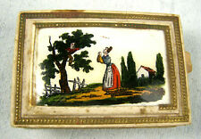 Antique 19thc Hand Painted Glass & Paper Card Box