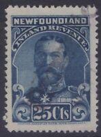 NEWFOUNDLAND NFR18b 1910 25c KING GEORGE V REVENUE STAMP WMKD USED XF CV$200