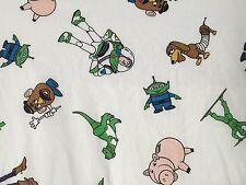 RARE! Vtg 1995 Disney TOY STORY TWIN FLAT Sheet Fabric Woody Buzz Rex Slinky Dog
