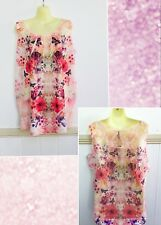 New Crossroads Au 16 $39.95 Red Purple Lace Bead Floral Cream Beach Party Top