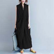S-5XL ZANZEA Women Cross V Neck Sleeveless Shirt Dress Long Maxi Dress Plus Size
