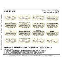 16 Maison de poupées miniature blanc PHARMACIE étiquettes pour bocaux Kit 1