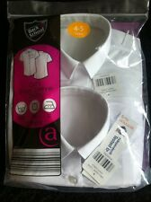 Bnwt Girls Back To School 2 White Short Sleeved Shirts Blouses Age 4-5 Years New