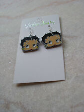 new enameled silver plated betty boop  face earrings