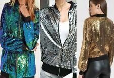 Glitter Sequin Bomber Jacket Coat Clubbing Top Womens Biker Festival  Party Club
