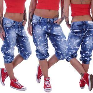 Damen Boyfriend Jeans Capri Baggy Kurze 3/4 Hose Shorts Pumphose Sommer D61
