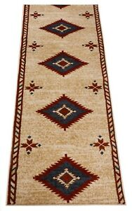 "Custom Size Southwestern Beige Runner Rug South West Customize Runner 26"" Width"