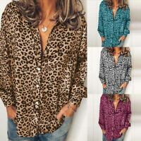 Women Buttons Down Leopard Print Casual Shirt Tops Loose Ladies Tops Blouse Plus