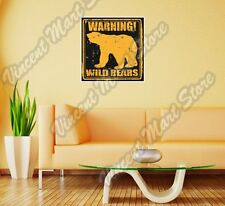 """Warning Wild Grizzly Bear Forest Wall Sticker Room Interior Decor 22""""X22"""""""