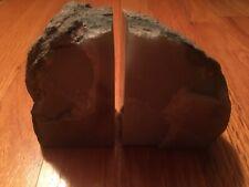 Green petrified wood polished stone/ bookends bark rock/ book shelf art.
