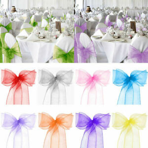 Organza Chair Sashes Covers Bows Ribbon For Wedding Banquet Party Decor 1-200pcs