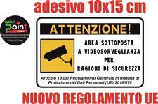 ADESIVO cartello area videosorvegliata sottoposta a videosorveglianza 15x10 cm