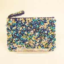 "6"" Sequin Handmade Beaded Bright Blue Multi Color Sparkle Coin Purse Wallet"
