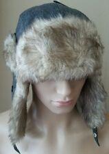 Urban Pipeline Gray Herringbone Trapper Aviator Faux Fur Winter Hunting Cap Hat