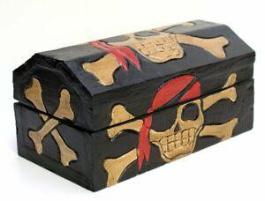 Wooden Pirate Chest Small Treasure Storage Case Box Black Gift Idea