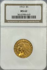 NGC MS62 1913 $5 Indian Head Gold Coin.!, Choice BU.!