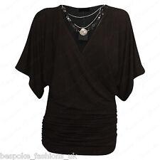 Ladies Women's Wrap Over V Neck Stretchy Batwing Top & Necklace Plus Size 16-26 Black XXL 20-22
