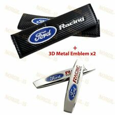 Carbon Look Seat Belt Cover Shoulder Pads Embroidery + 3D Emblem for Ford Racing