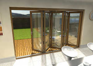 Solid Oak Bifold Doors External 3.6m Prefinished in Oak Stain 54mm, Ref ZA288