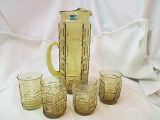 Vintage 1950's Morgantown amber Pitcher 4 Old Fashion glasses glass Stirrer