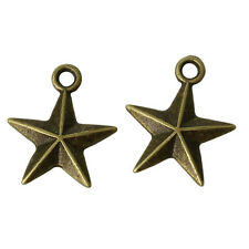 10 pcs Antique bronze charm pendant star