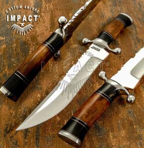 IMPACT CUTLERY RARE CUSTOM D2 HUNTING BOWIE KNIFE CAMEL BONE HANDLE