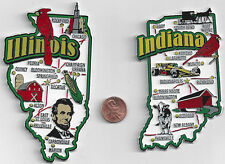 INDIANA and ILLINOIS JUMBO  STATE  MAP  MAGNET 7 COLOR   NEW USA  2 MAGNETS