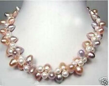 2rows white pink purple freshwater pearl twist necklace