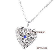 SILVER PLATED HEART LOCKET NECKLACE BIRTHSTONE NECKLACE GIFT JEWELLERY WOMENS