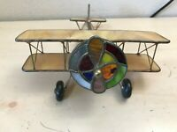 Vintage Stained Glass Kaleidoscope Airplane Bi-Plane HAND MADE Yellow