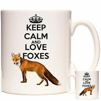Keep Calm And Love Foxes 11oz ceramic mug, Can be personalised. Dishwasher safe