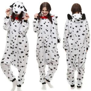 Dalmatian Costume Pajamas Fancy Dress Unisex Adult Jumpsuit Onesie01 Sleepwear I